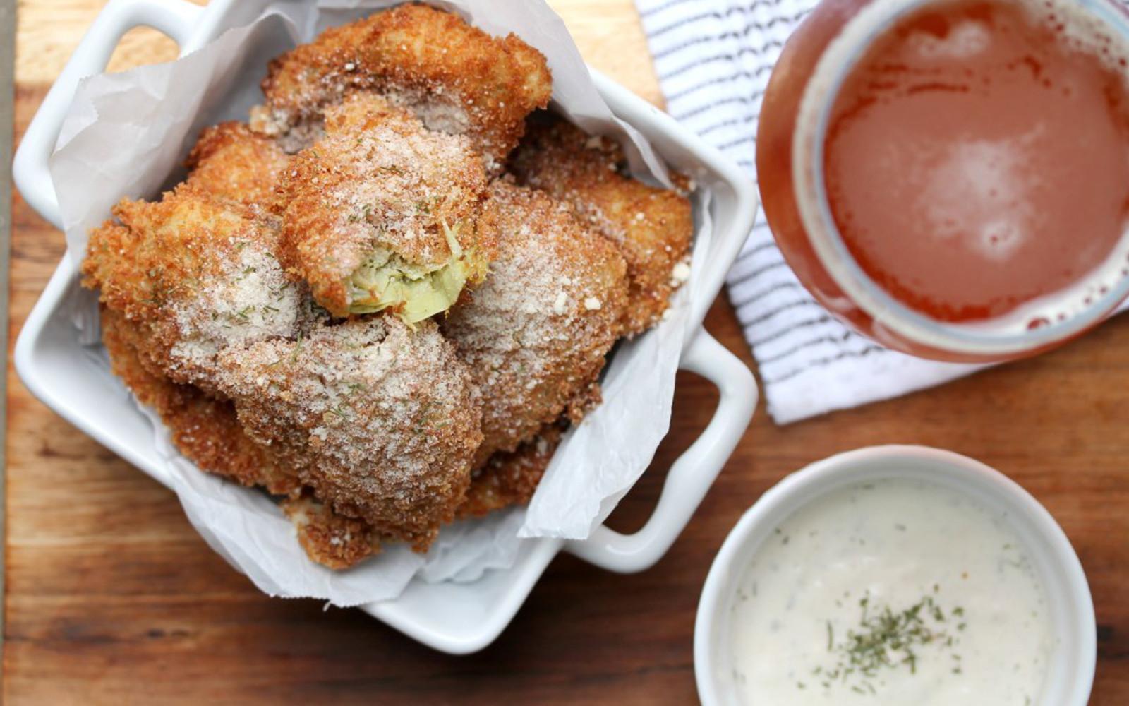 Vegan GLuten-Free Fried Artichoke Hearts With Garlic Dill Aioli and red sauce