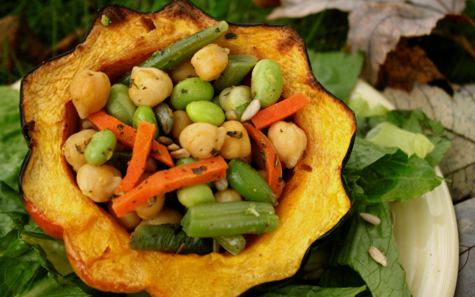 Vegan Roasted Acorn Squash With Curried Chickpea and Veggies