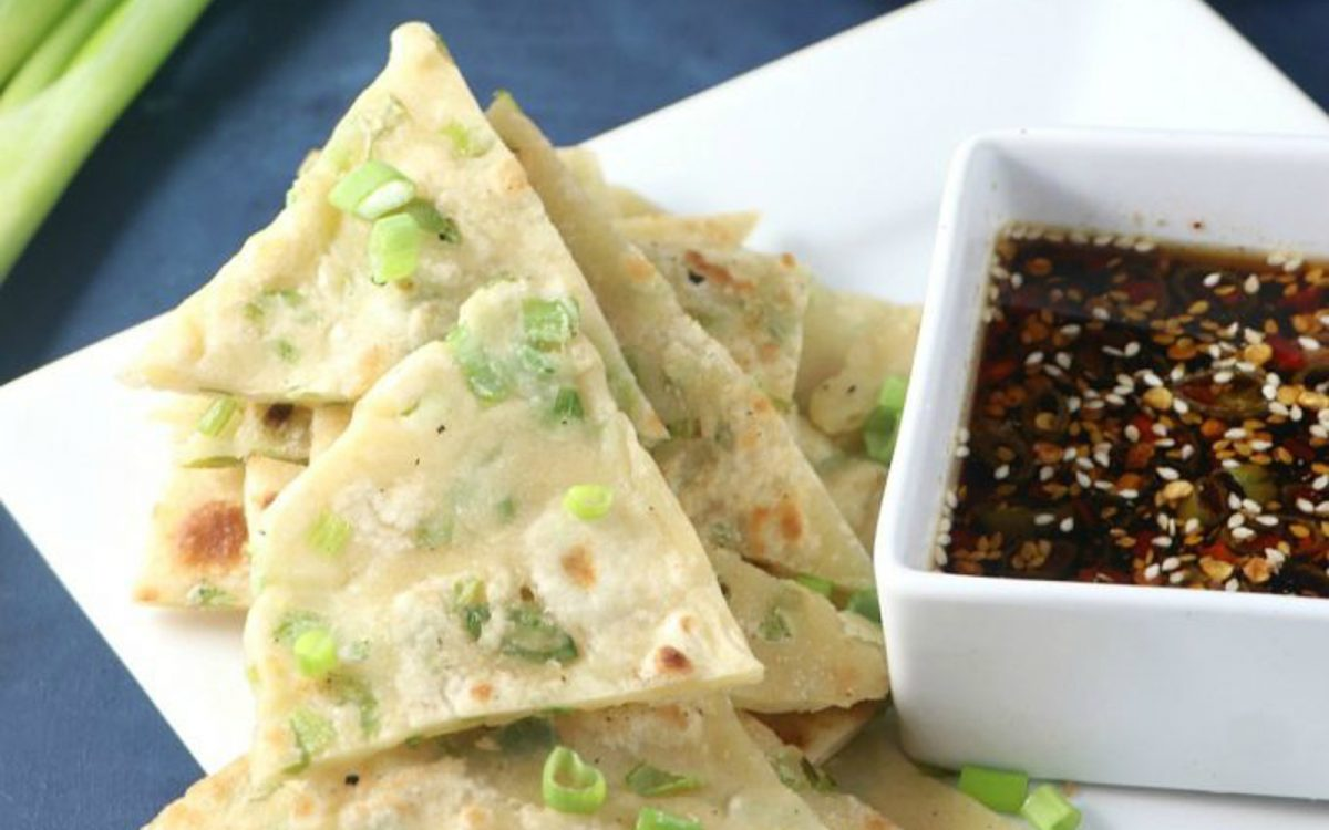 Vegan Scallion Pancakes With Ginger Soy Dipping Sauce