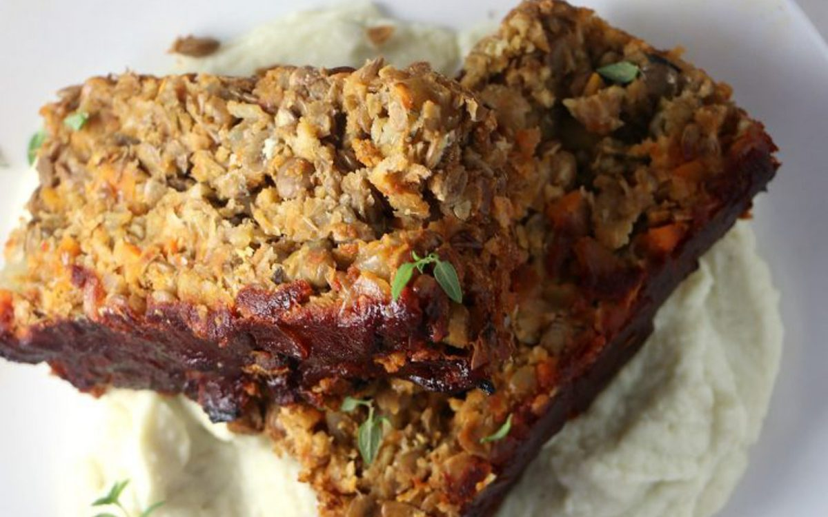 Lentil Loaf With Celery Root Mash