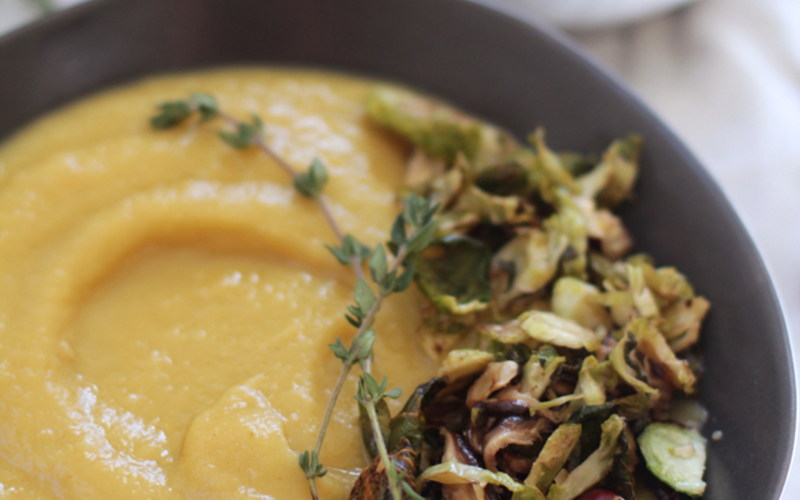 Apple, Parsnip, and Fennel Soup With Crispy Sage Brussels Sprouts