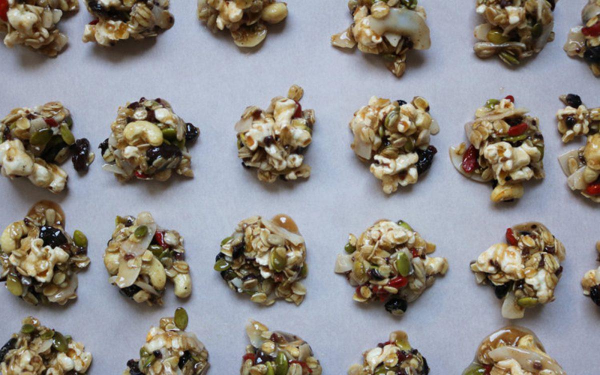 Vegan No-Bake Trail Mix Popcorn Clusters