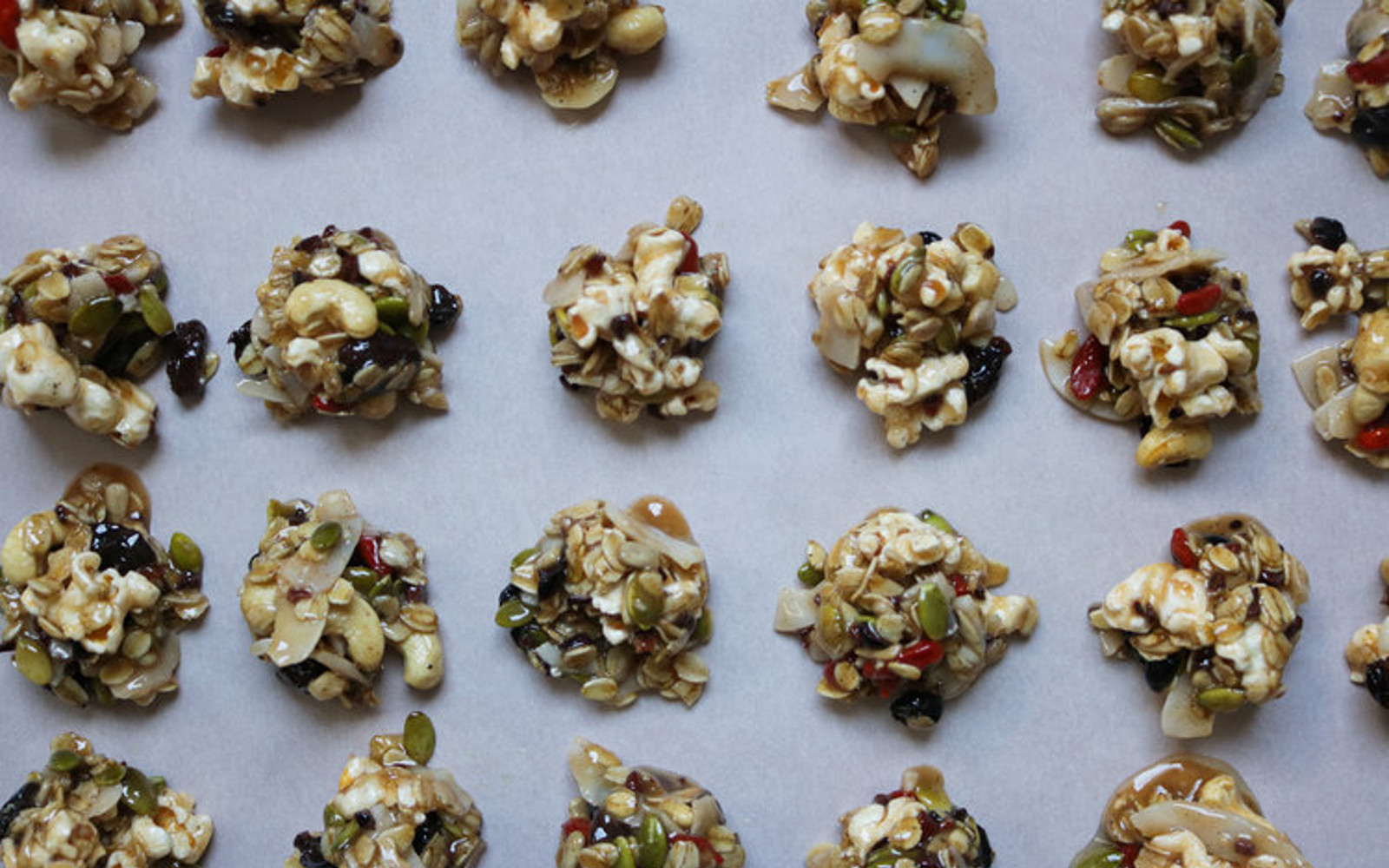 No-Bake Trail Mix Popcorn Clusters