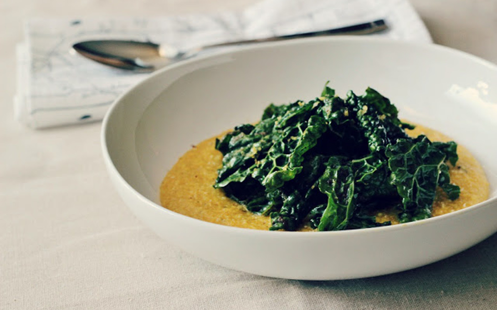 Pumpkin Polenta With Wilted Spiced Greens