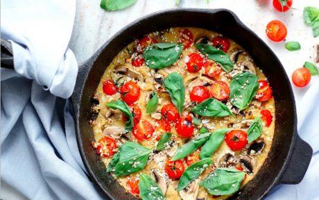 Polenta Frittata With Mushroom, Tomato, and Basil [Vegan, Gluten-Free]