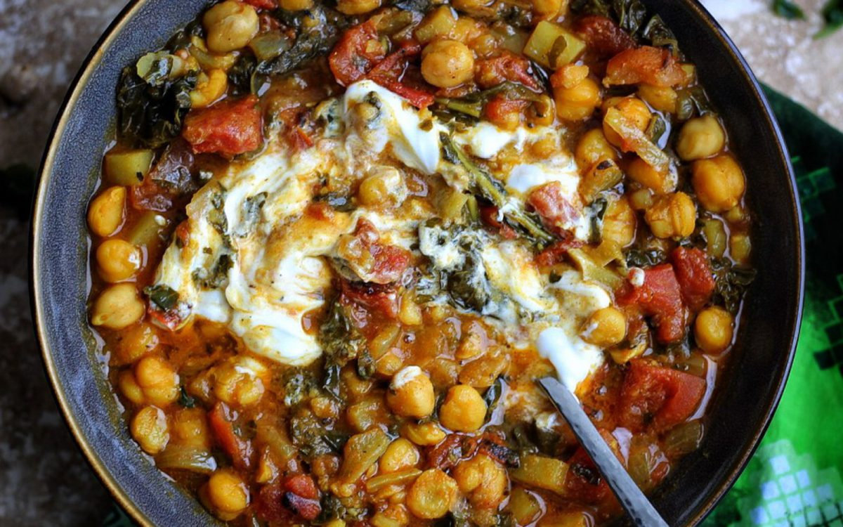 Spicy West African Chickpea and Kale Curry