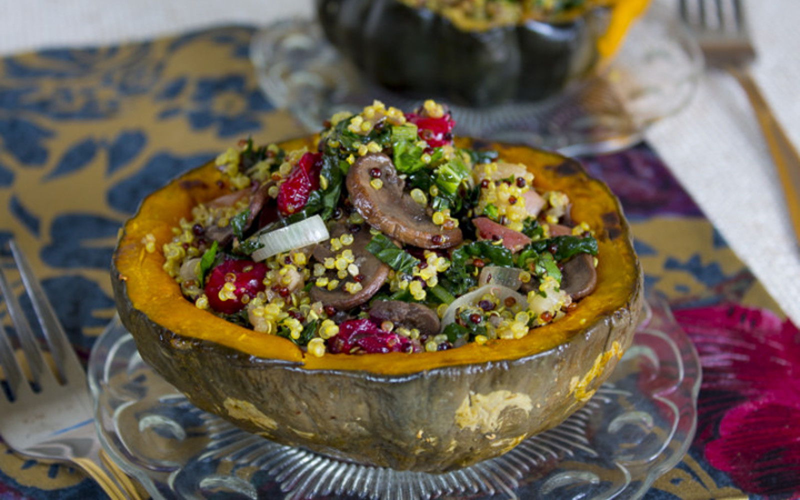 Stuffed Squash With Quinoa Pilaf