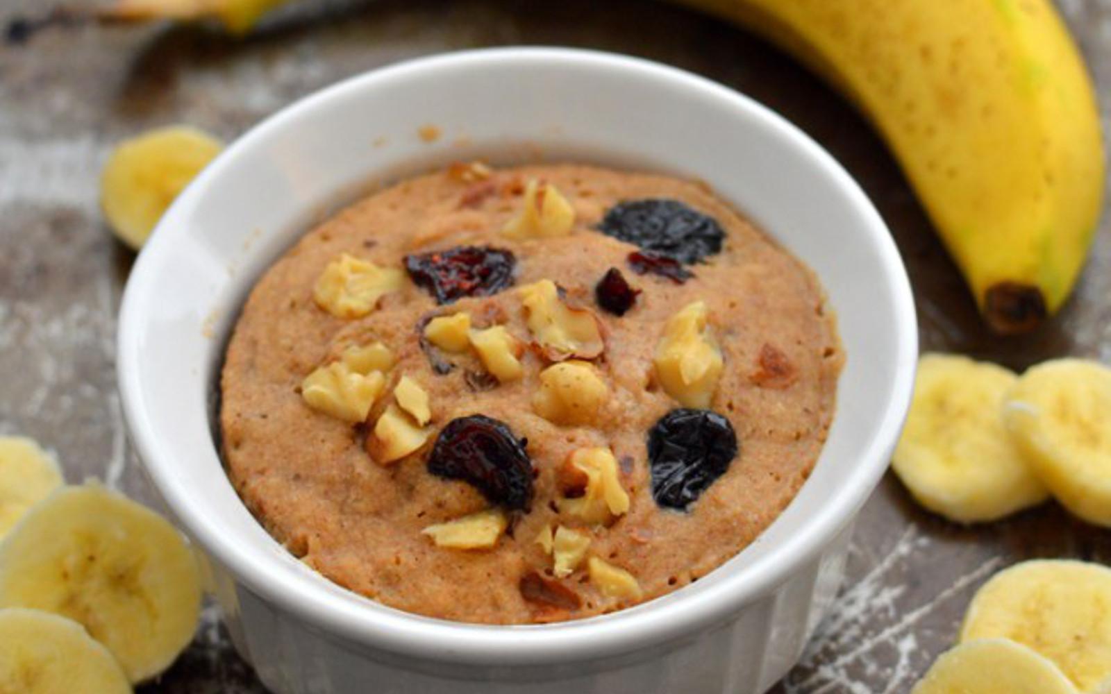 Vegan GLuten-Free Banana Bread Mug Cake with nuts and raisins