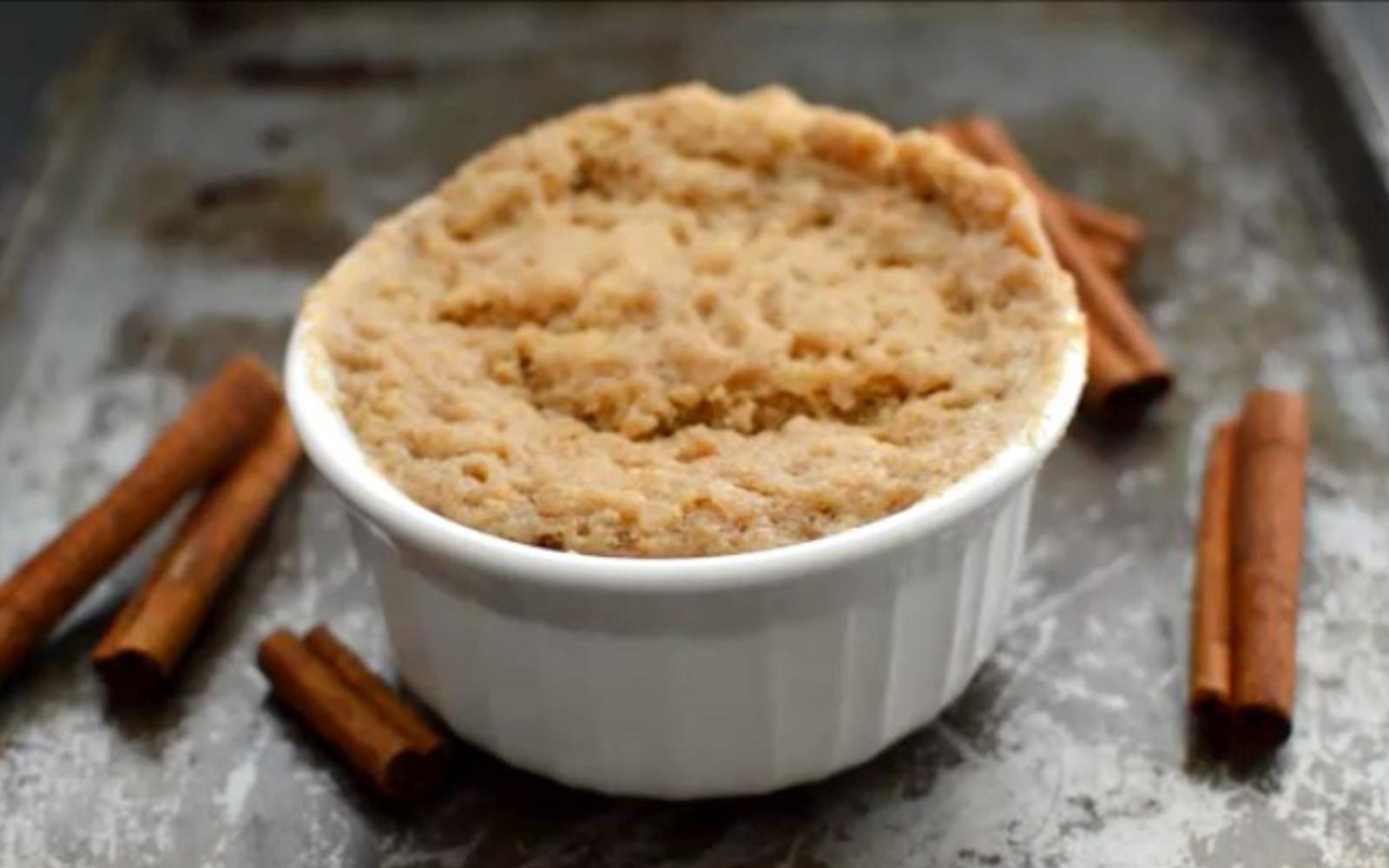 Vegan Gluten-Free Snickerdoodle Mug Cake with cinnamon sticks