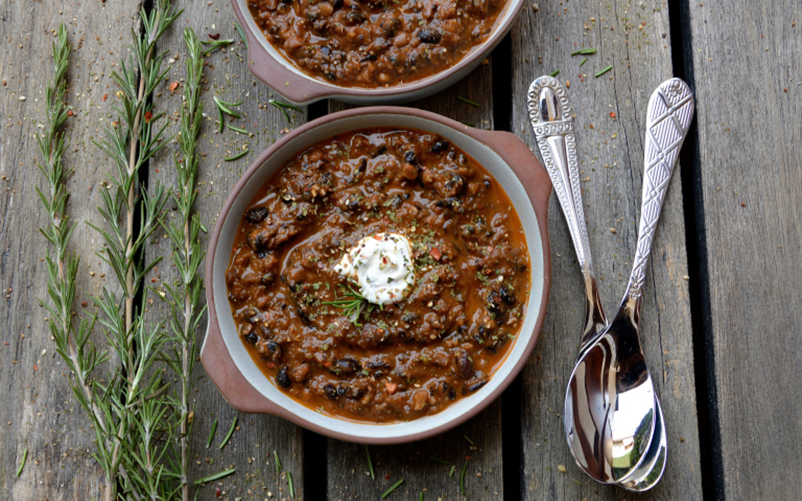Vegan Grain-Free Hearty Black Bean Soup with cream topping