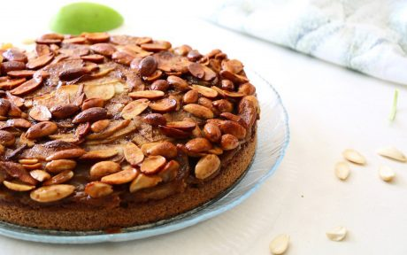 Vegan German Apple Cake With Candied Almond Topping side view