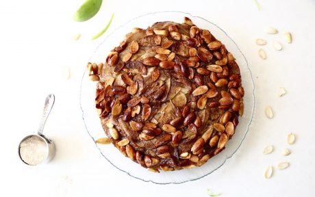 Vegan German Apple Cake With Candied Almond Topping top view