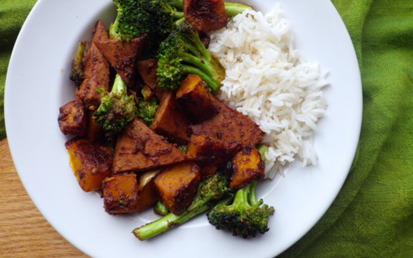 Maple Miso Tofu With Butternut Squash and Broccoli