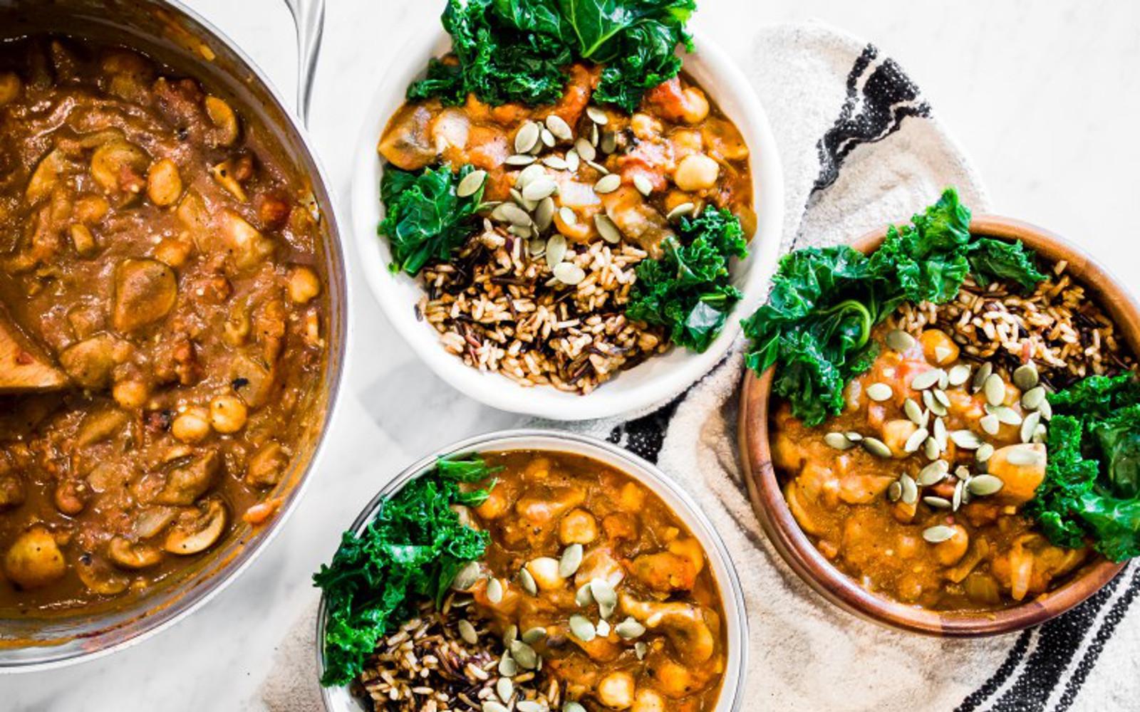 Vegan Gluten-Free Pumpkin Chili With Wild Rice with garnish