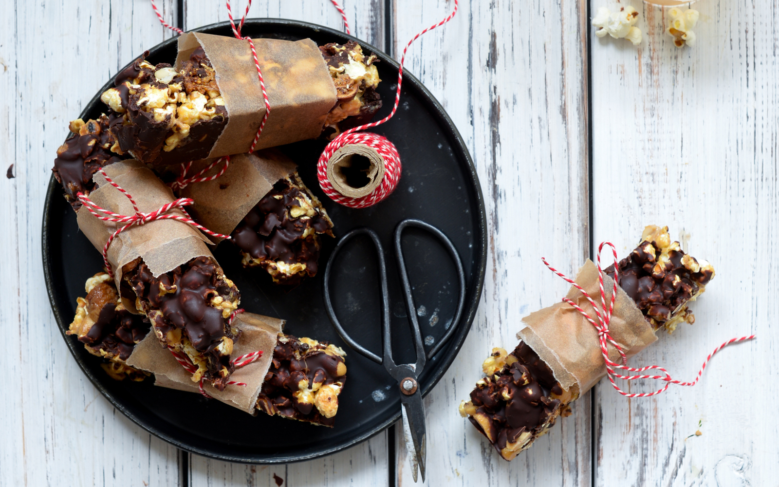 Popcorn Bars With Caramel, Chocolate, And Peanut Butter