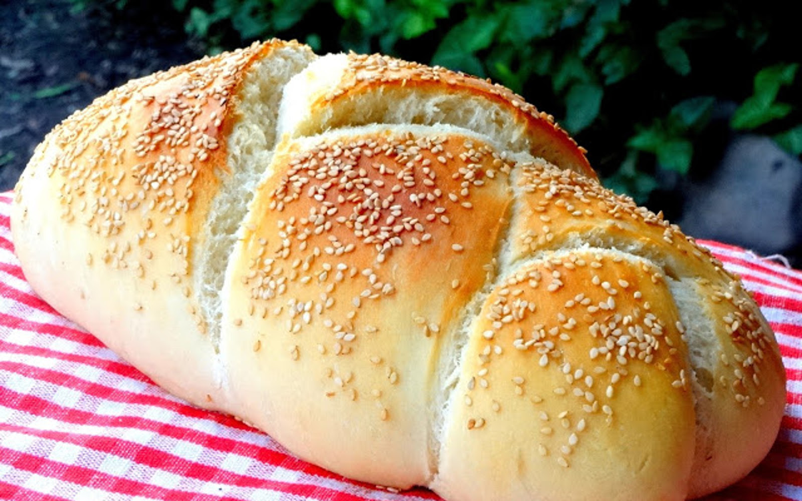 Vegan Sesame Italian Bread Braided