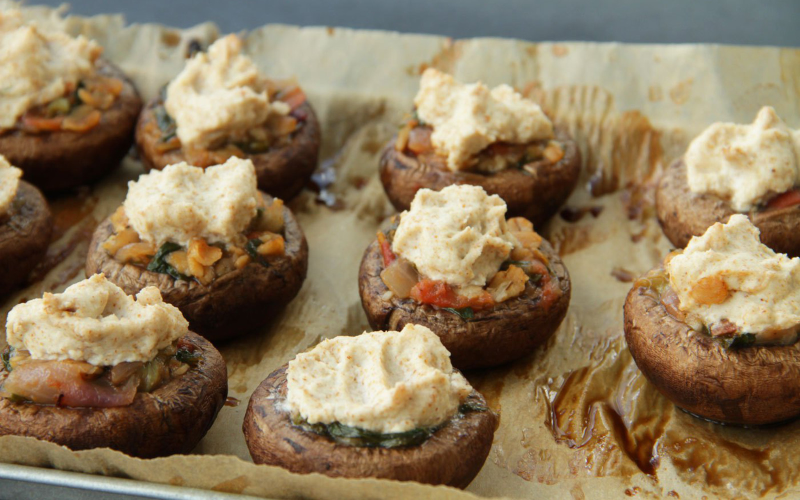 Stuffed Mushrooms With Almond Feta