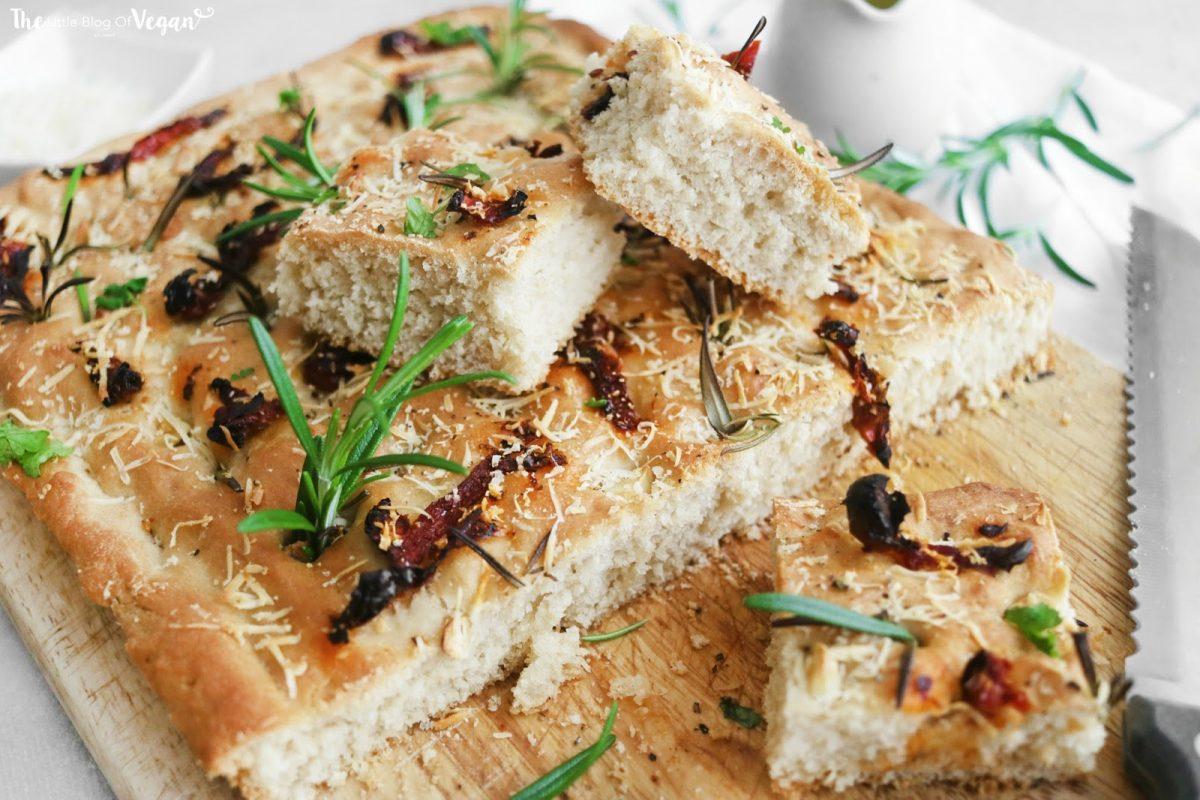 Vegan Sun-Dried Tomato, Garlic, and Rosemary Focaccia