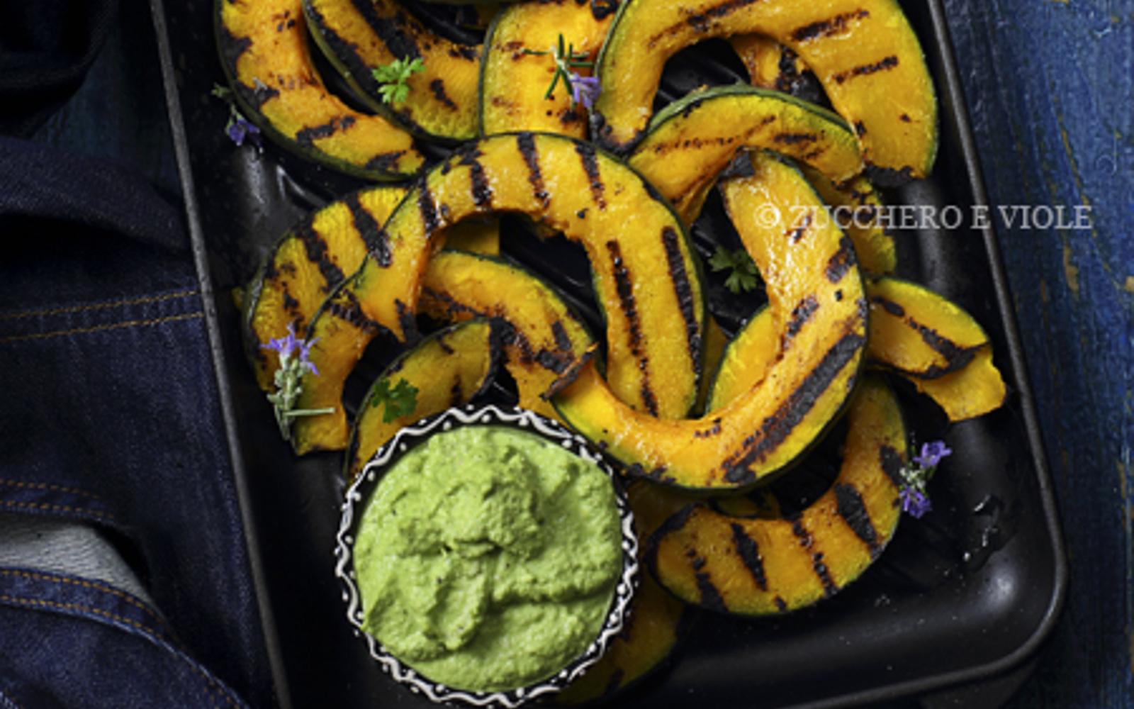 Vegan Grain-Free Grilled Pumpkin With Spinach Cauliflower Pesto