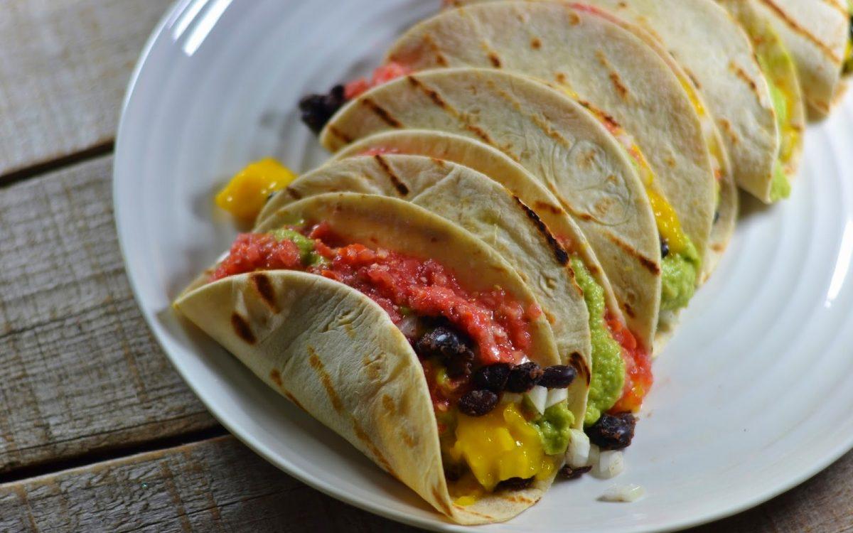 Mango Black Bean Tacos With Fresh Pico de Gallo and Guacamole