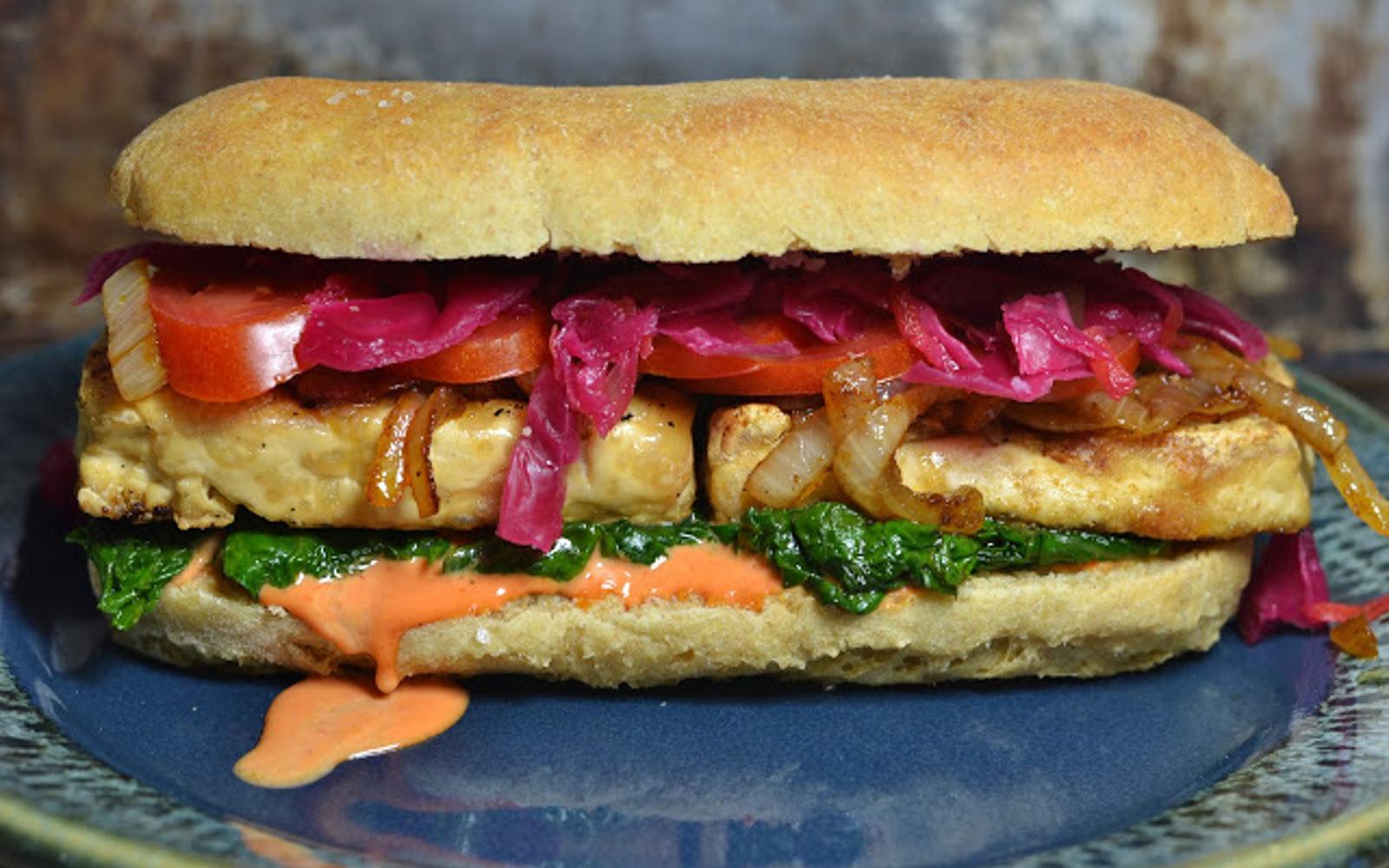 Vegan Loaded Roasted Tofu Dinner Sandwiches