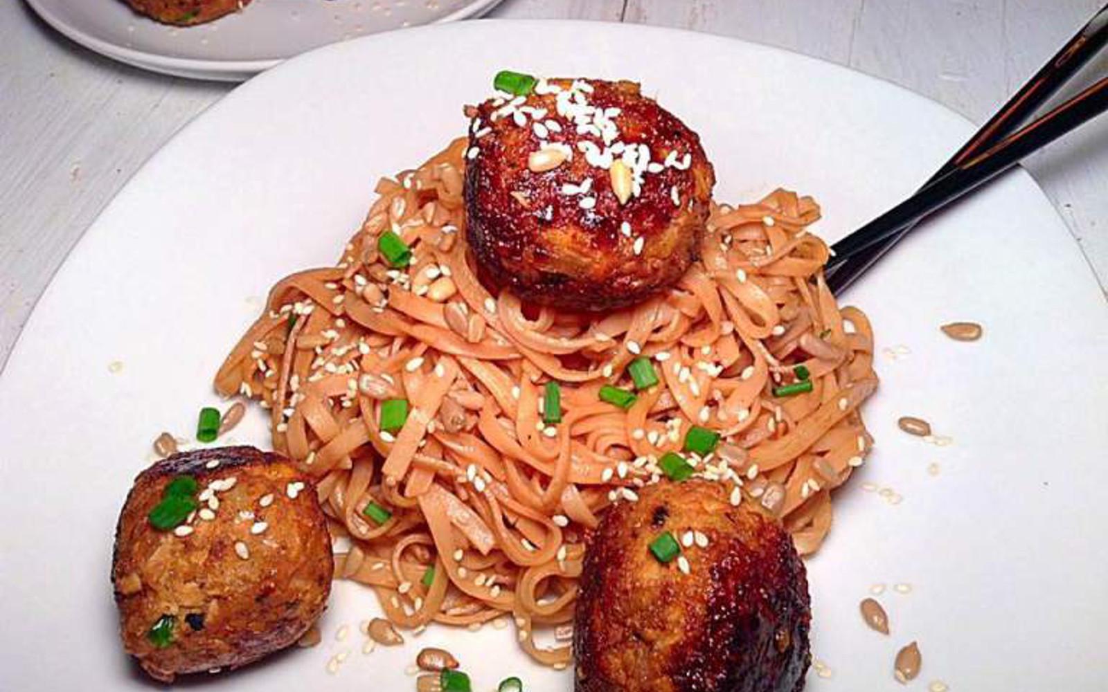 Sweet Meatballs With Peanut Rice Noodles [Vegan, Gluten-Free]