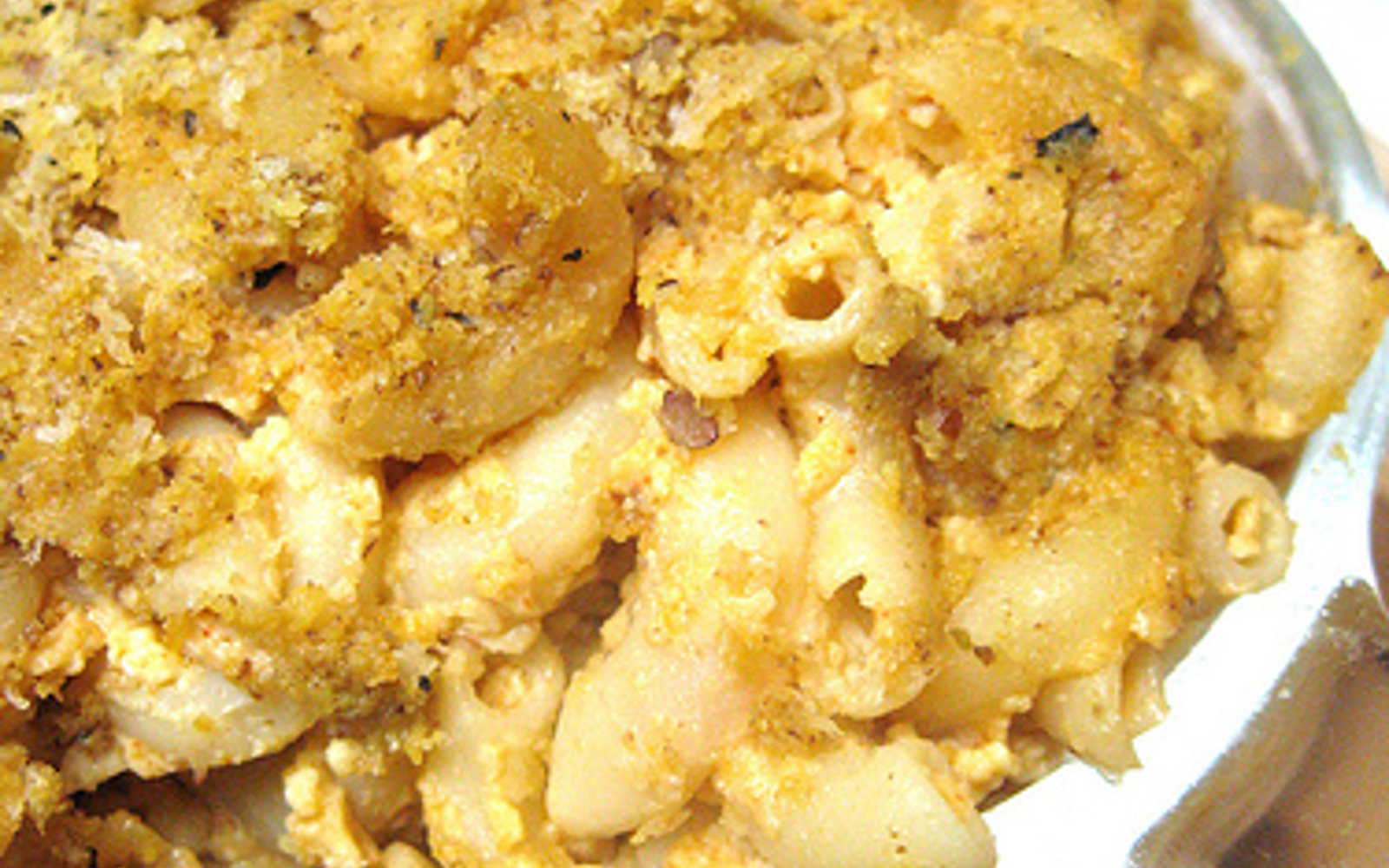 Vegan Five Cheese Baked Macaroni and Cheese with nutritional yeast