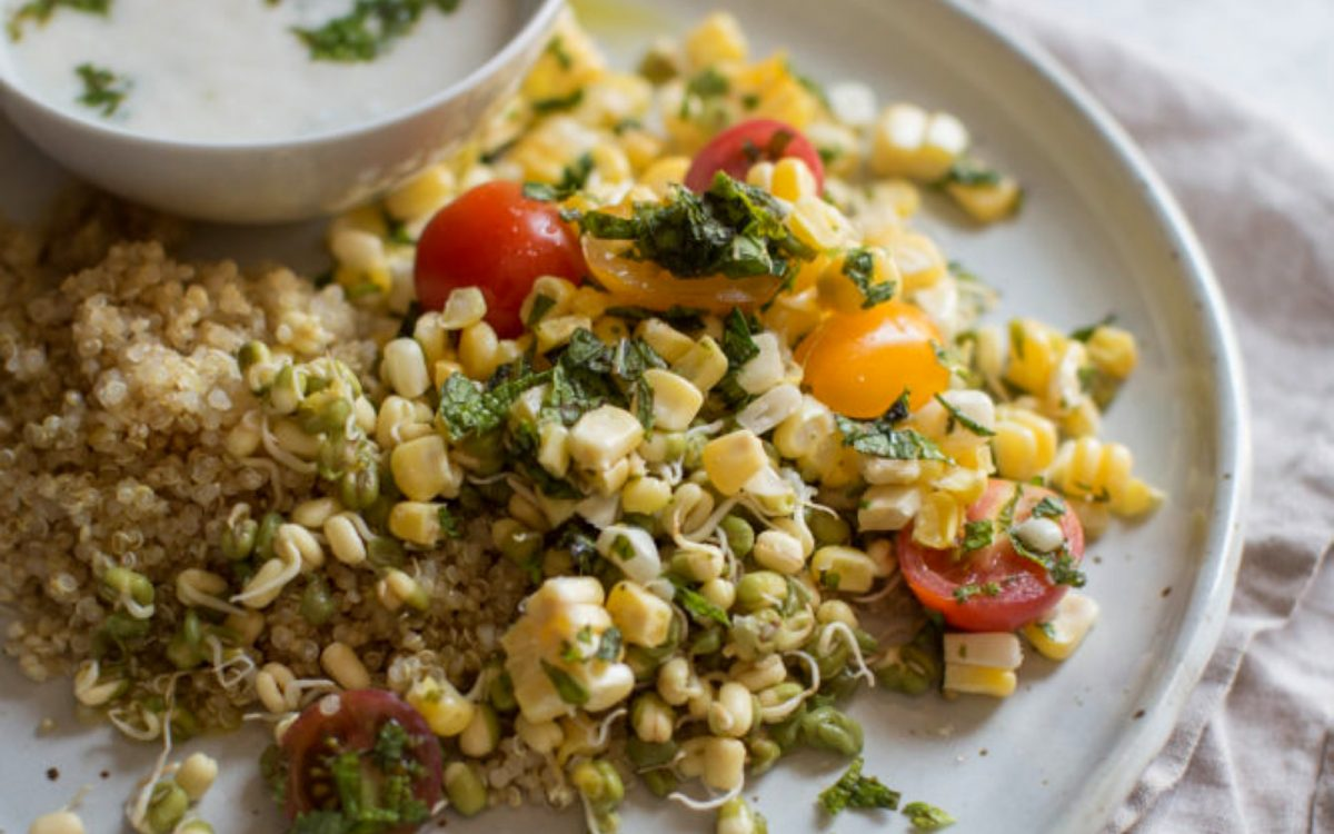 Minted Quinoa, Corn, and Mung Bean Salad