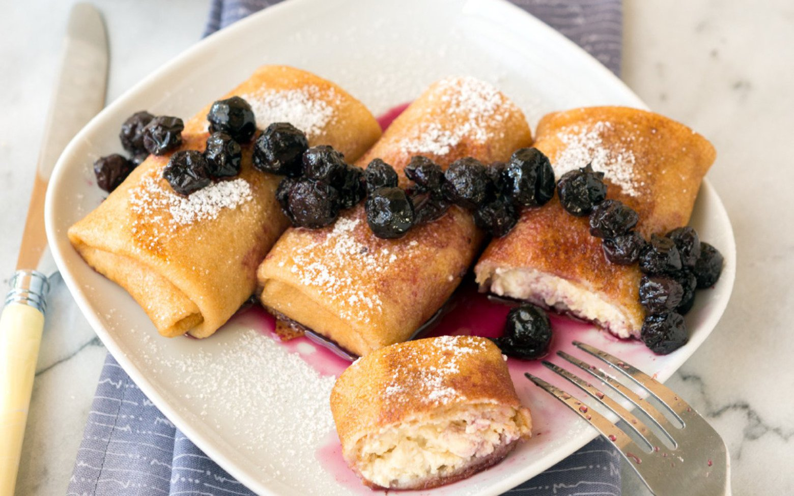 Vegan Nut-Free Cream Cheese Blintzes With Blueberry Drizzle