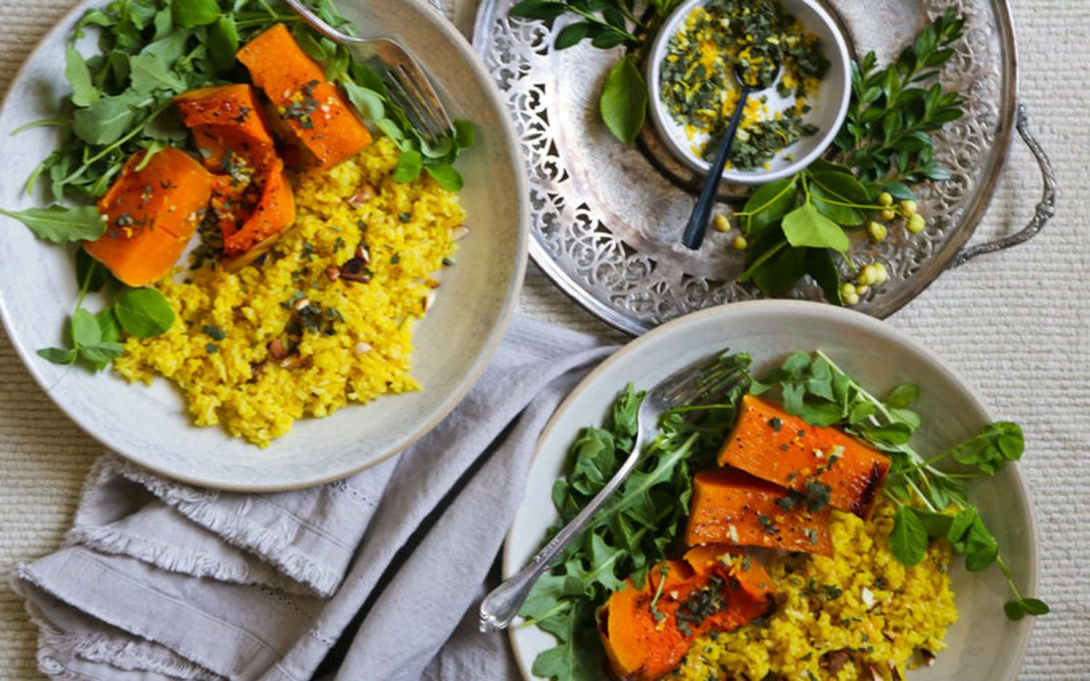 Vegan Caramelized Squash With Saffron Rice and Sage Gremolata