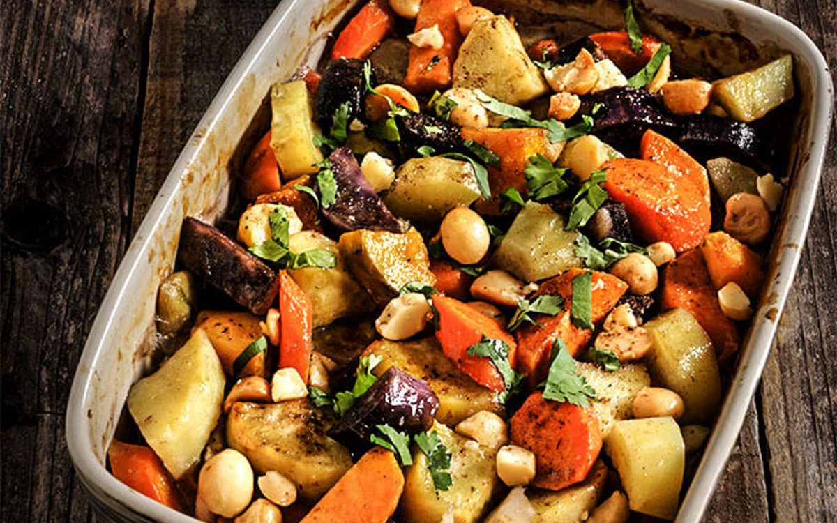 Root Vegetables Roasted In Coconut Milk With Salted Toasted