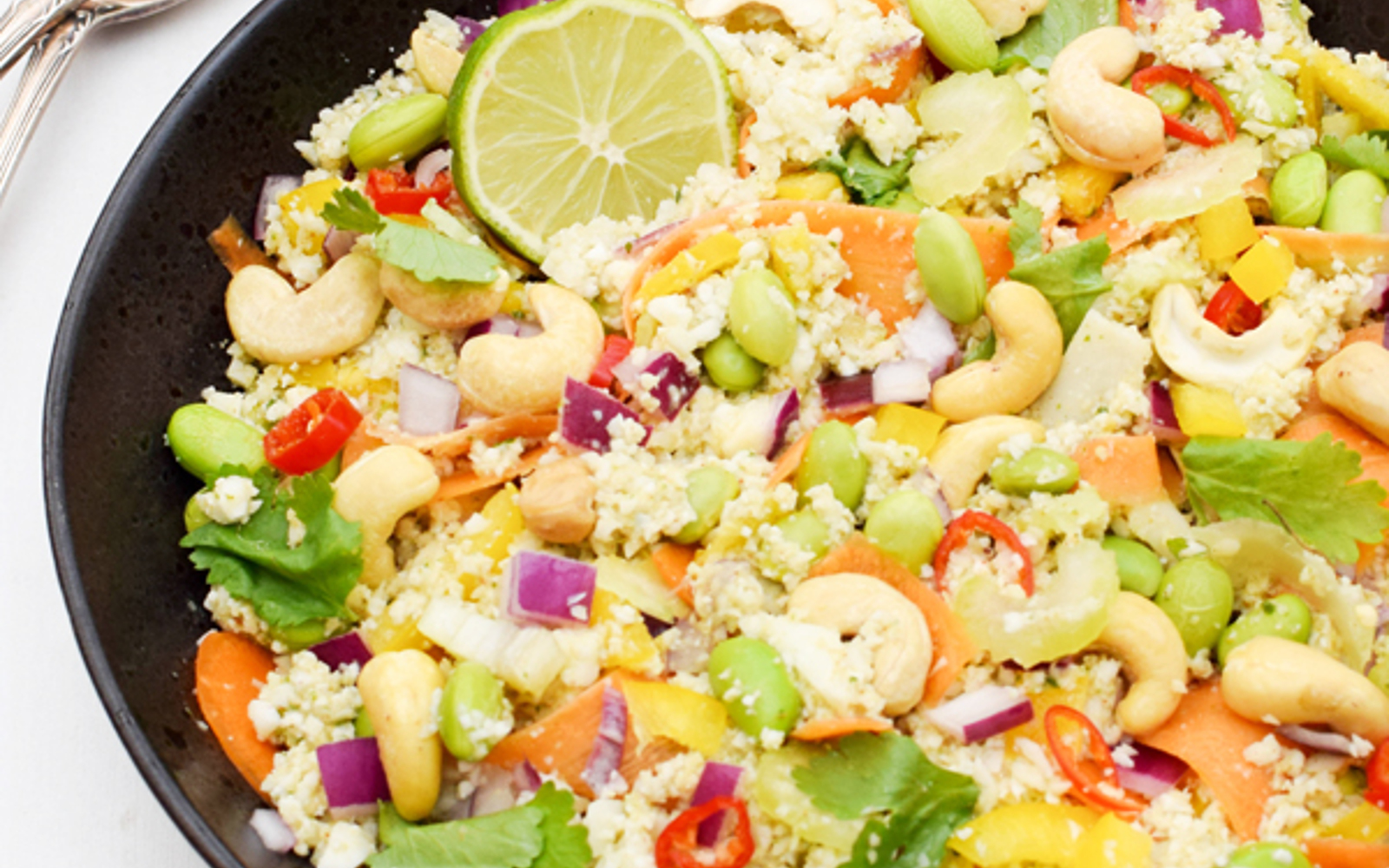 Crunchy Cashew Asian Cauliflower Rice Salad [Vegan, Gluten-Free]