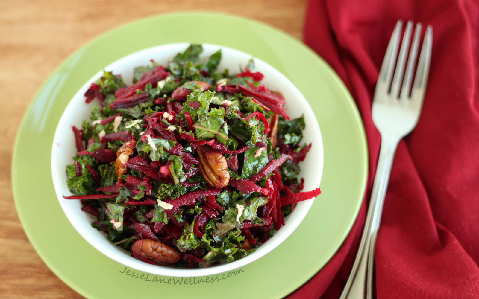 Kale, Beet, and Pecan Salad With Ginger Dressing
