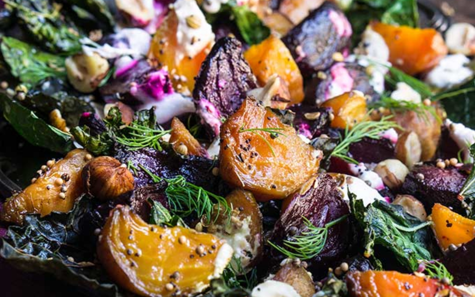 Vegan Grain-Free Roasted Beets and Kale Salad with Horseradish Crema and Hazelnuts
