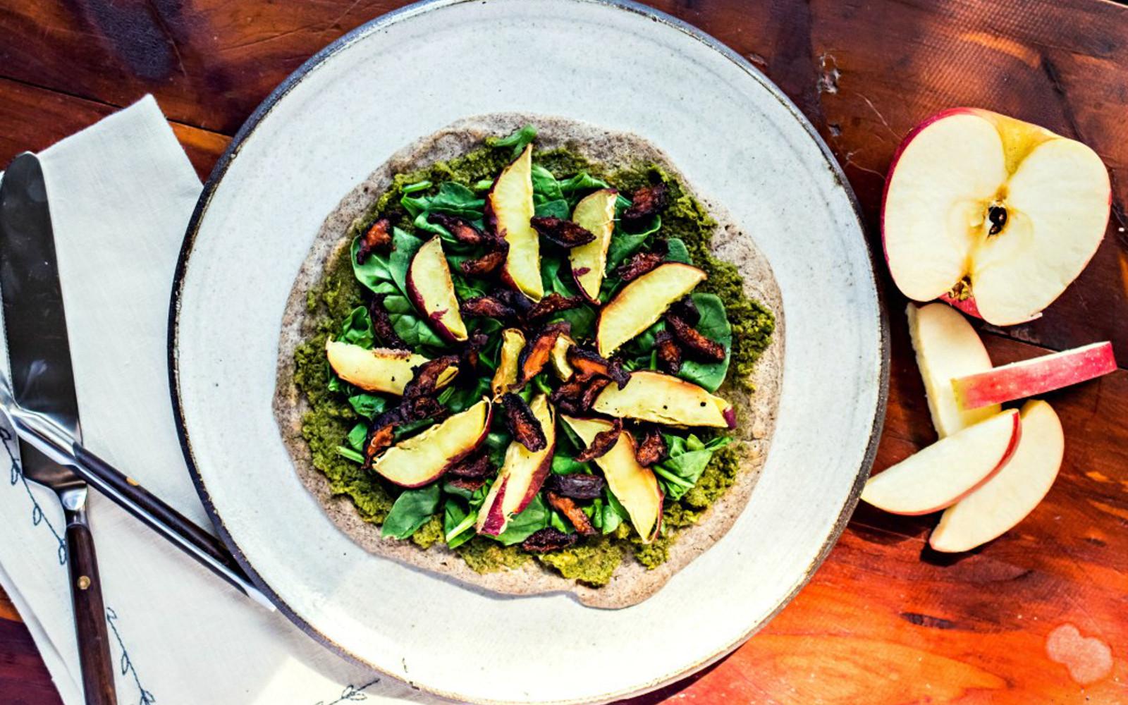 "Vegan Buckwheat Flatbread With Shiitake ""Bacon"" and apples and greens"