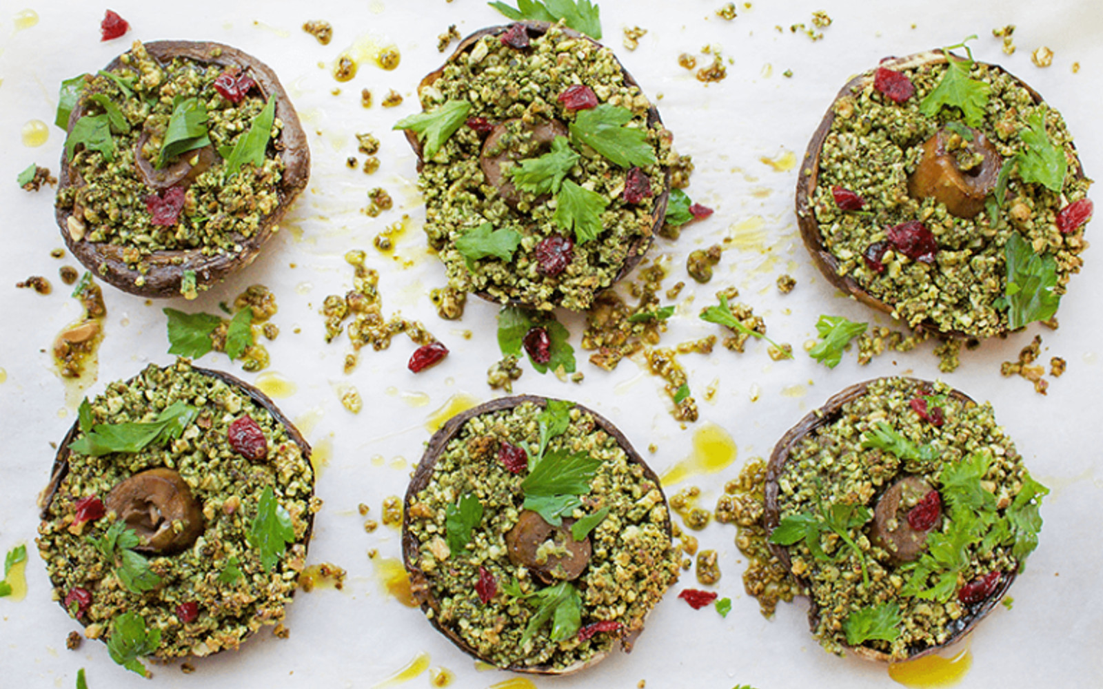 Vegan Grain-Free Almond and Herb-Stuffed Mushrooms