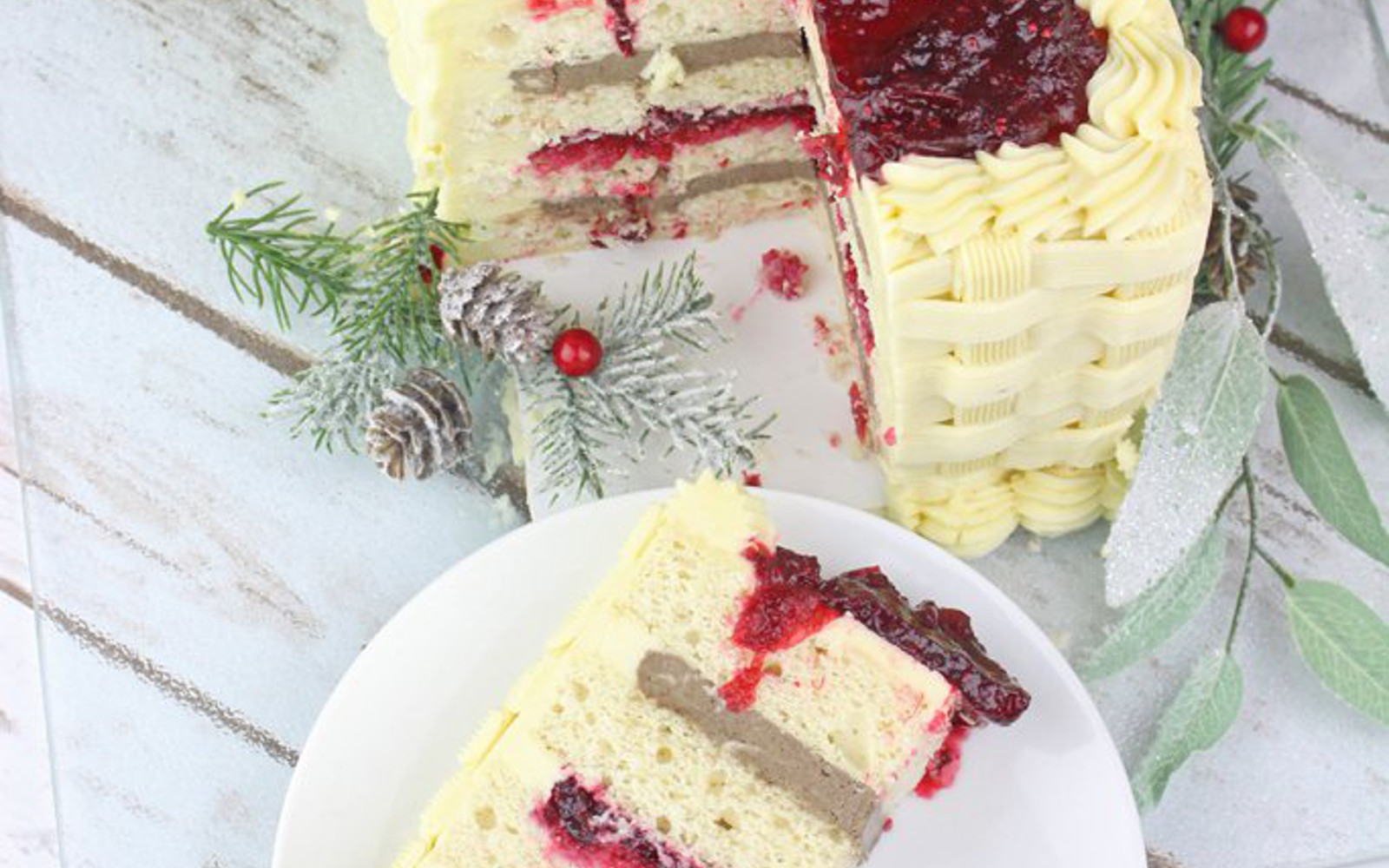 Vegan White Chocolate Cranberry Cake cross section