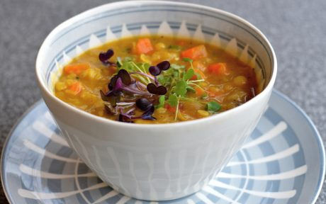 Vegan Gluten-Free One-Pot French Canadian Split Pea Soup topped with garnish