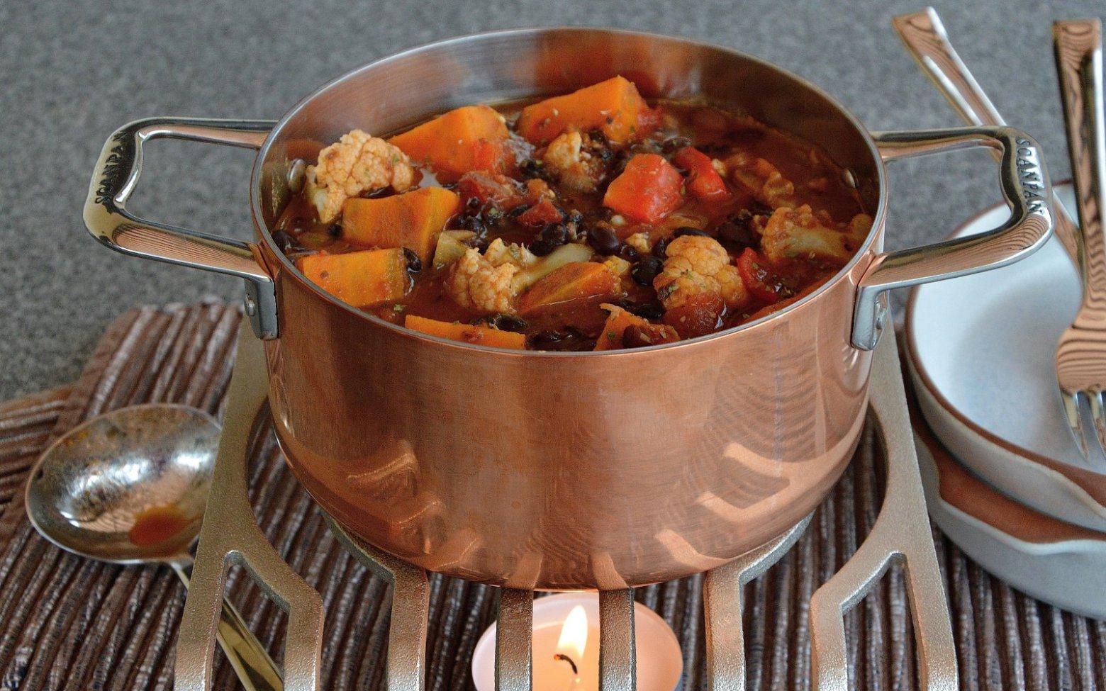 Vegan Black Bean, Cauliflower, and Sweet Potato Stew