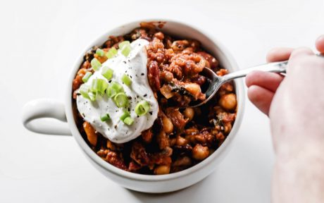 Vegan Hearty High-Protein Lentil, Kidney Bean, and Chickpea Chili