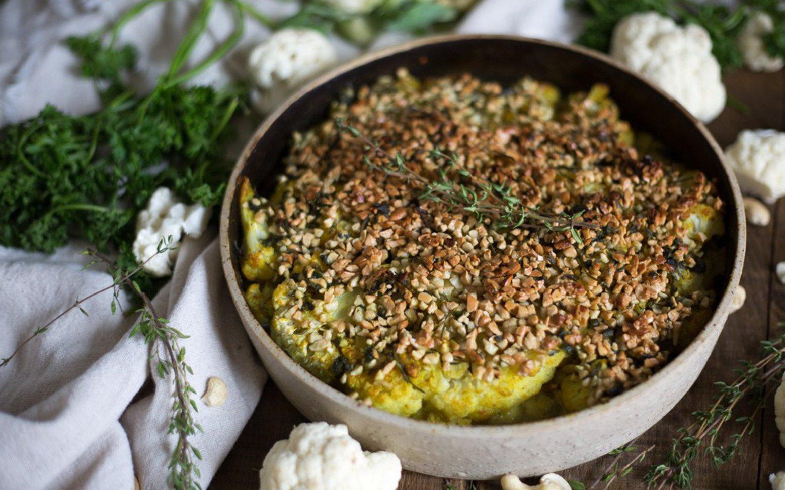 Vegan German Roasted Cauliflower With Curry Cashew Crust