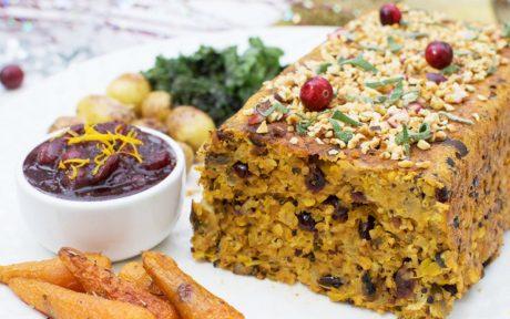 Vegan Hazelnut and Orange Nut Roast With Cranberry Sauce
