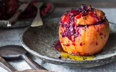 Vegan Gluten-Free Apples Stuffed With Red Cabbage and Cranberries