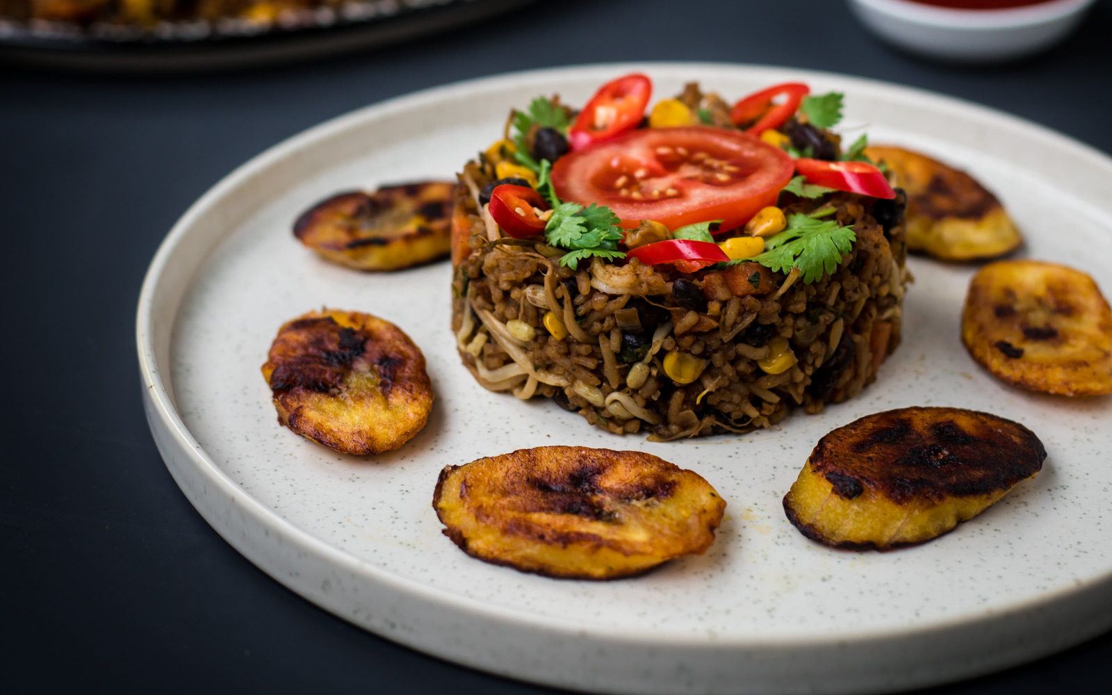 Vegan Gluten-Free Protein Fried Rice single serving with toppings