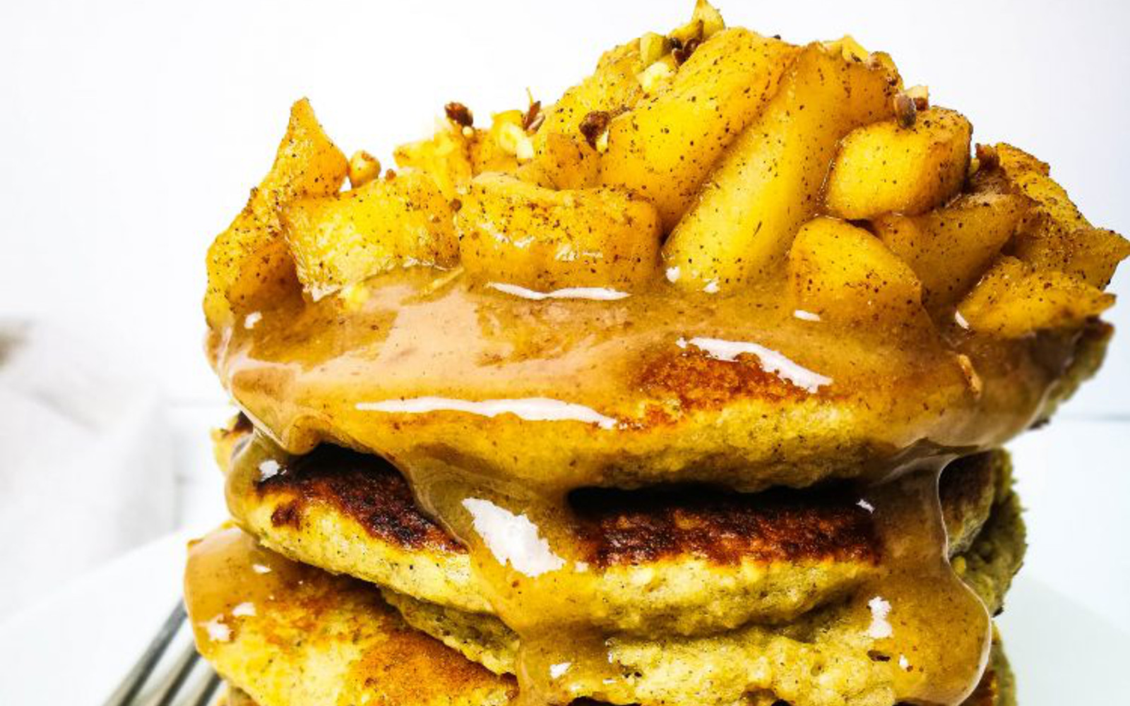 Vegan gluten-free Toffee Apple Pancakes with apple toffee topping