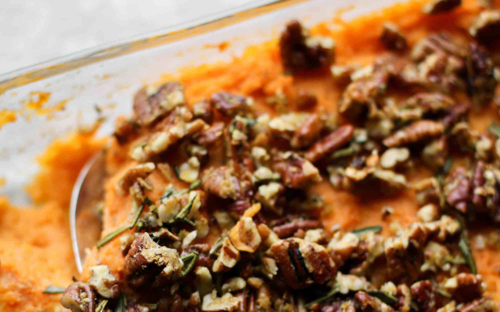 Sweet Potato Casserole With Rosemary Pecan Parmesan