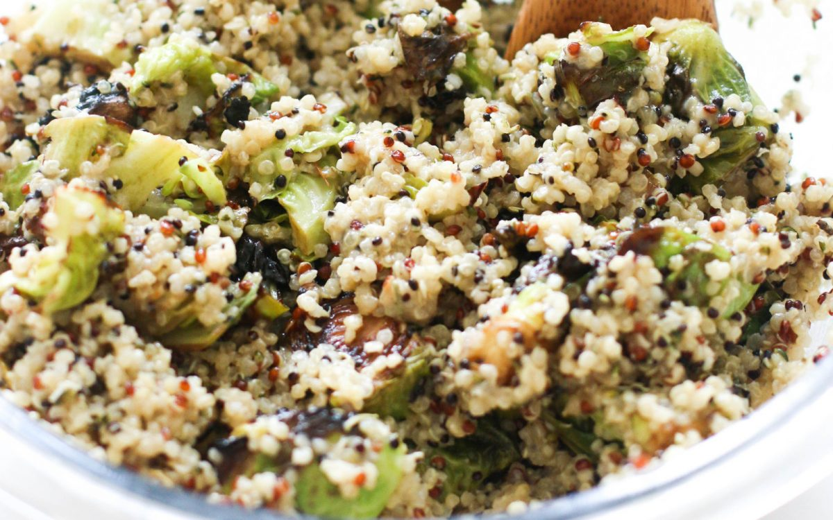 Vegan Rosemary Brussels Sprout Quinoa Salad