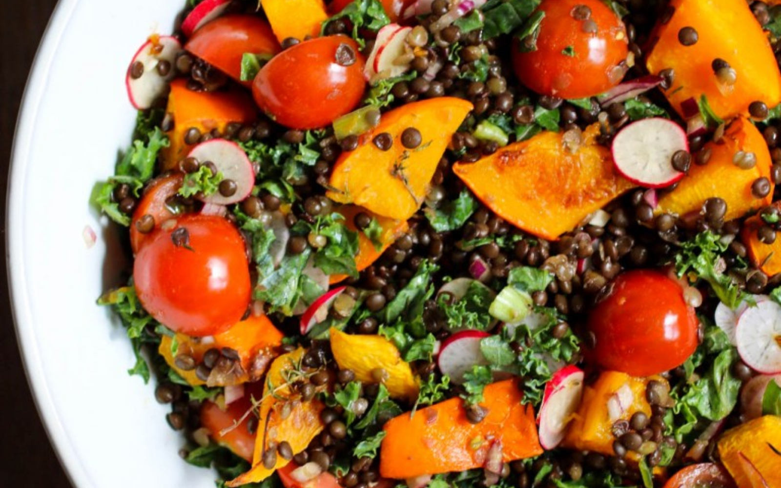 Pumpkin Salad With Black Lentils Kale And Cherry Tomatoes Vegan One Green Planet