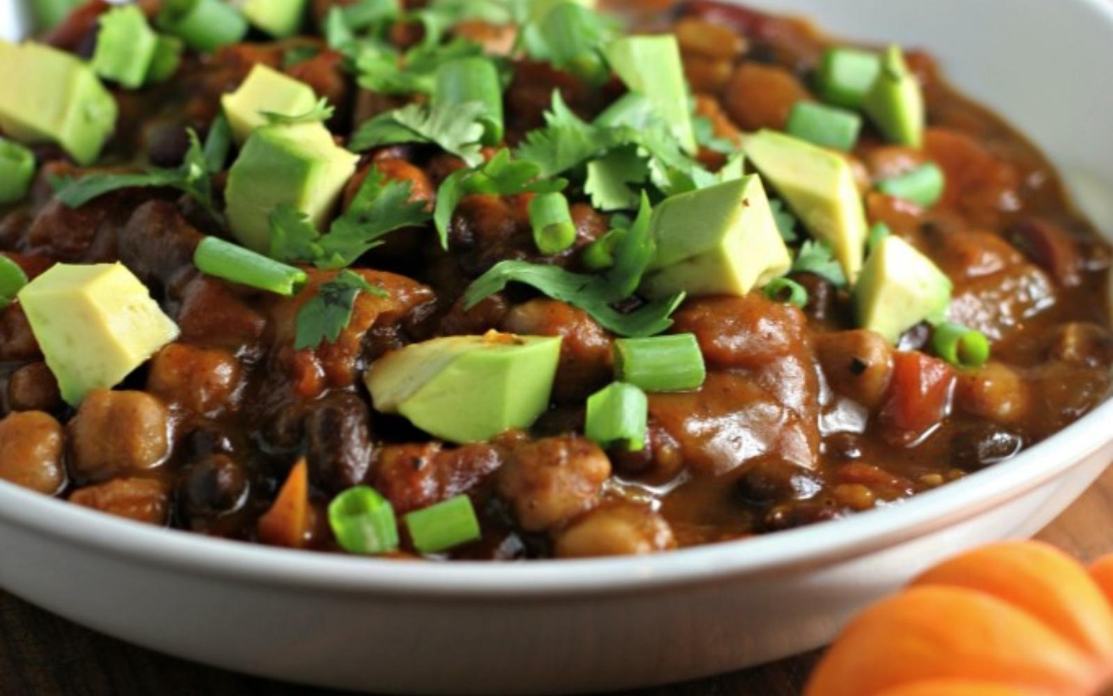 Vegan Gluten-Free Crock Pot 3-Bean Pumpkin Chili