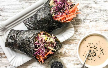 Vegan Gluten-Free Nori Wraps with Cauliflower Paté and Veggies with tahini dressing